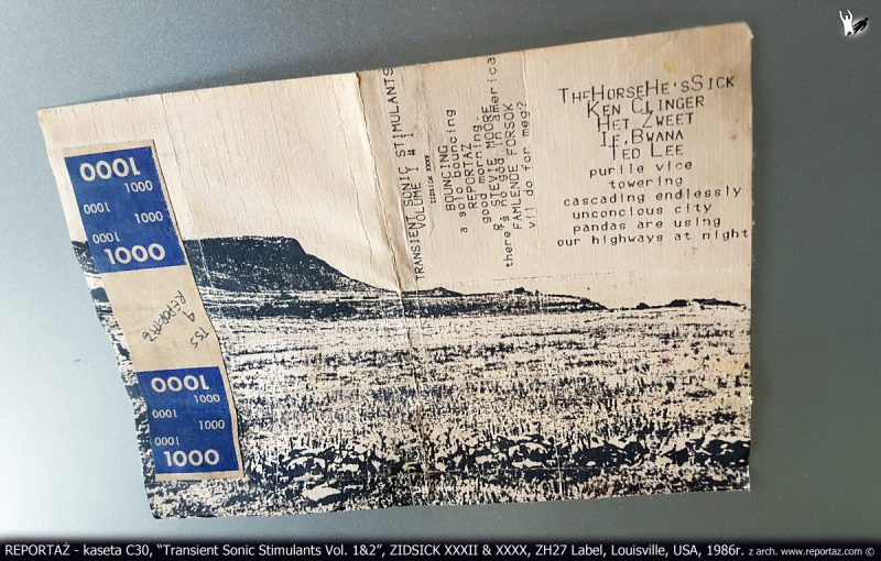 REPORTAŻ - kaseta magnetofonowa, Transient Sonic Stimulants Vol. 1_2, ZH27 Label, Louisville, USA, kompilacja, 1986