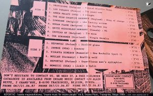 Reportaż kaseta Insane music for insane people Vol.8, Insane Music, Trazegnies, Belgia 1986