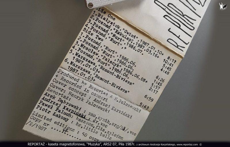 REPORTAŻ - kaseta magnetofonowa, Muzyka, ARS2 07, Piła 1987r. z archiwum Andrzeja Karpińskiego