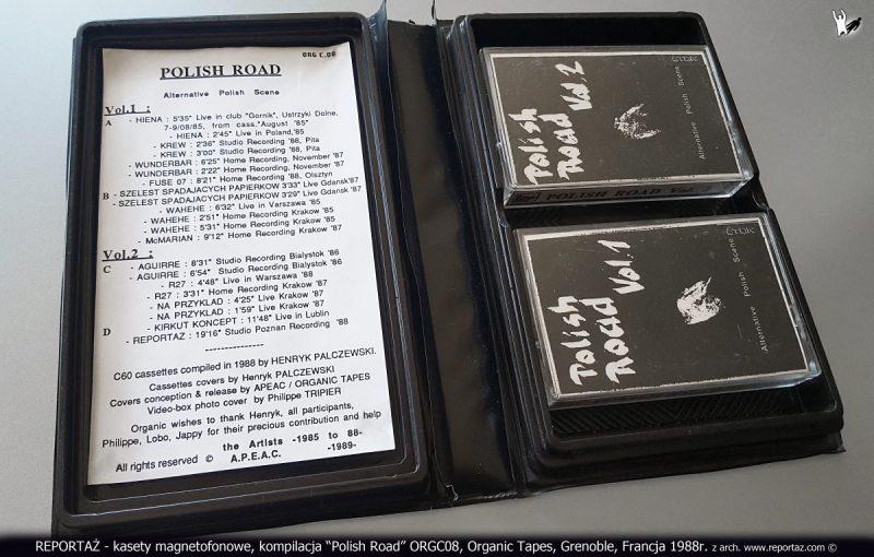 REPORTAŻ - kasety magnetofonowe, kompilacja Polish Road ORGC08, Organic Tapes, Grenoble, Francja 1988