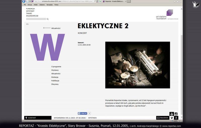 REPORTAŻ, Krzesło Eklektyczne, Stary Browar Susznia, Poznań, 12.01.2005r., fot. Przemysław Pochylski, z archiwum Andrzeja Karpińskiego