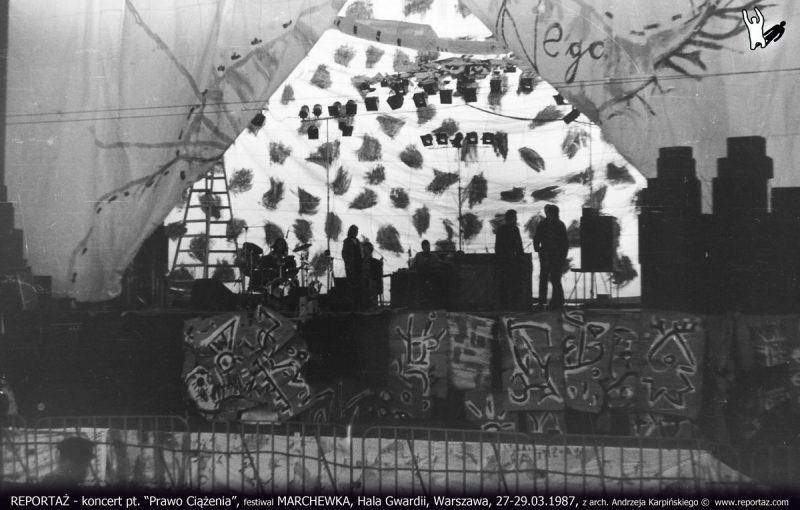Próba grupy Reportaż. Festiwal MARCHEWKA, Hala Gwardii, Warszawa, 27-29.03.1987.