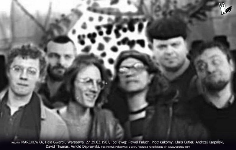 Od lewej: Paweł Paluch, Piotr Łakomy, Chris Cutler, Andrzej Karpiński, David Thomas, Arnold Dąbrowski. Festiwal MARCHEWKA, Hala Gwardii, Warszawa, 27-29.03.1987.