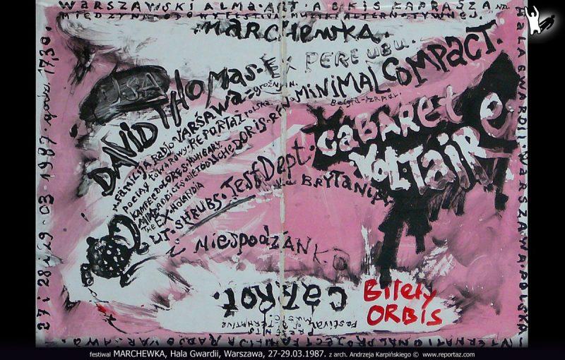 Plakat festiwalu MARCHEWKA, Hala Gwardii, Warszawa, 27-29.03.1987, z arch. Andrzeja Karpińskiego