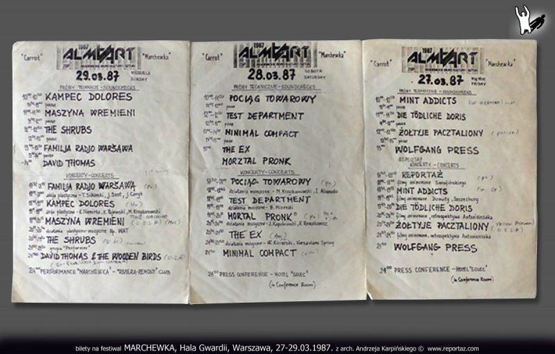 Bilety na festiwal MARCHEWKA, Hala Gwardii, Warszawa, 27-29.03.1987, z arch. Andrzeja Karpińskiego