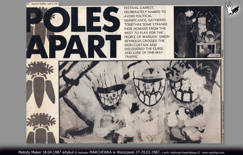 Melody Maker 18.04.1987 artykuł o festiwalu MARCHEWKA w Warszawie, 27-29.03.1987, z arch. Andrzeja Karpińskiego