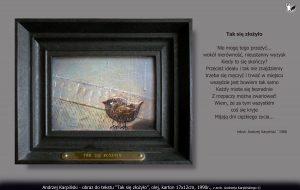 """Andrzej Karpiński """"Tak się złożyło"""" olej, płótno 17x12cm, 1990"""
