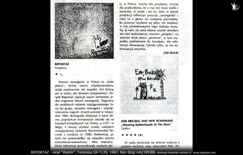 Złosliwe wzmianki prasowe o Reportaż, LP Tonpress SX-T129, 1987r.